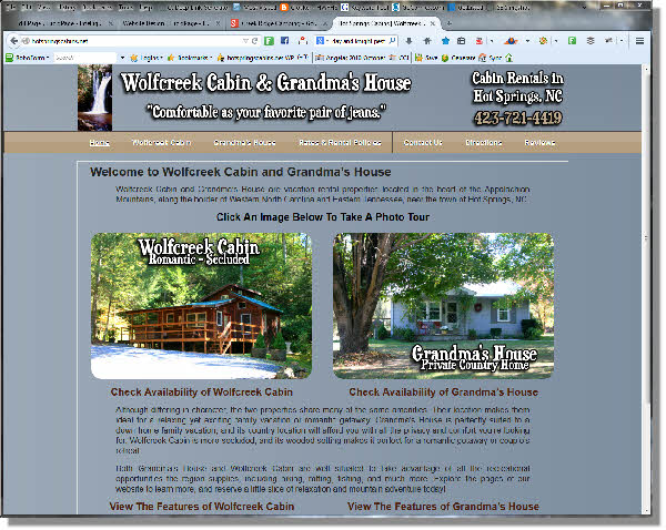 Wolf Creek Cabins Website