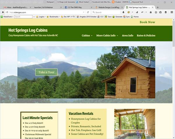 Hot Springs Log Cabins Website